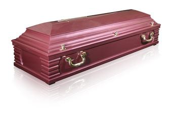 kolor różowo - lila, drewno miękkie liściaste, gładka, otwierana w całości, krzyż w komplecie